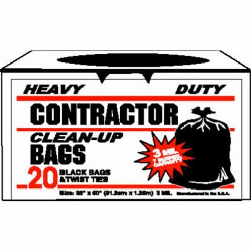 Primrose 7 Bu. Contractor Black Trash Bag (20-Count) 19020 Perspective: front