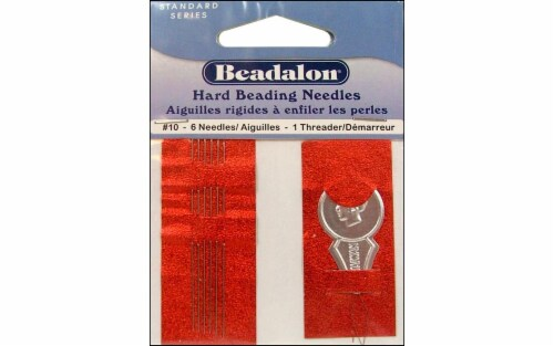 Beadalon Beading Needle Hard Size 10 6pc Perspective: front