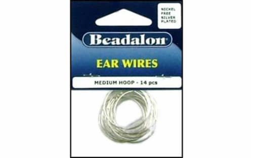 Beadalon Ear Wire Beading Hoops Med NF Silver 14pc Perspective: front