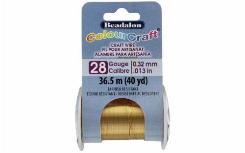 Beadalon ColourCraft Wire TR 28ga Brass Light 40yd Perspective: front