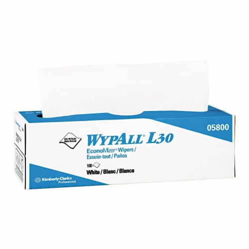 Wypall L30 Towels, Pop-Up Box, 9 4/5 X 16 2/5, 100/Box, 8 Boxes/Carton 05800 Perspective: front
