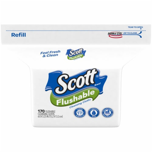 Scott Flushable Wipes 170 Count Perspective: front
