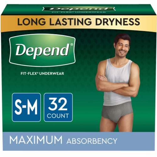 Depend FIT-FLEX Maximum Absorbency Small Medium Incontinence Underwear for Men Perspective: front