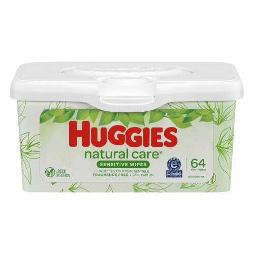 Huggies Natural Care Fragrance Free Sensitive Baby Wipes Refillable Pop-Up Tub Perspective: front