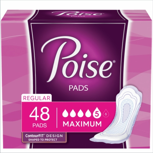 Poise Regular Length Maximum Absorbency Incontinence Pads Perspective: front