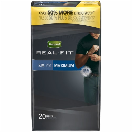 Depend Real Fit Maximum Absorbency Incontinence Underwear For Men S/M Perspective: front
