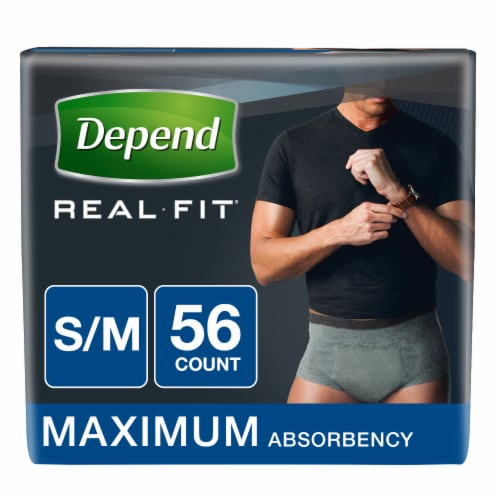 Depend Real Fit Small/Medium Incontinence Briefs Perspective: front