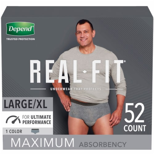 Depend Real Fix Max Absorbency L/XL Gray Incontinence Underwear for Men Perspective: front