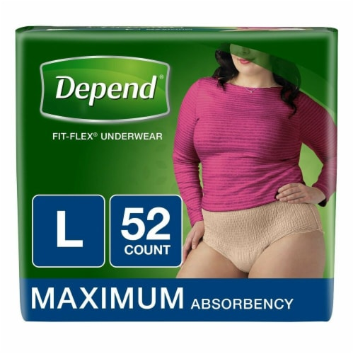 Depend Fit-Flex Maximum Absorbency Large Underwear for Women Perspective: front