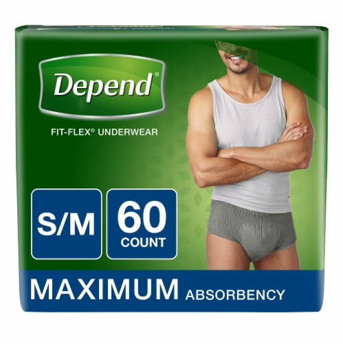 Depend Fit-Flex Maximum Absorbency Small/Medium Underwear for Men Perspective: front