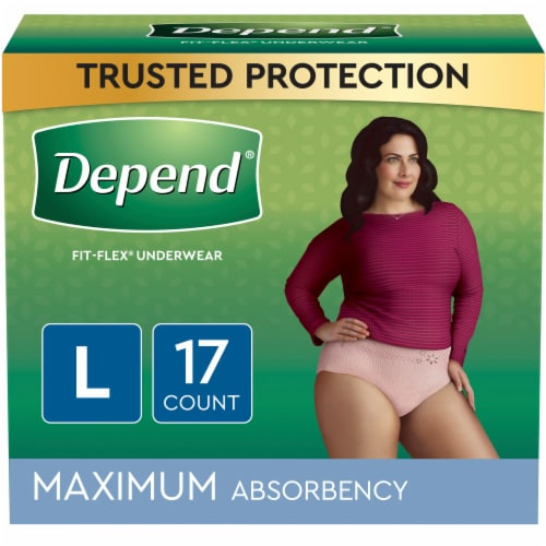 Depend Large Maximum Absorbency Fit-Flex Incontinence Underwear for Women Perspective: front