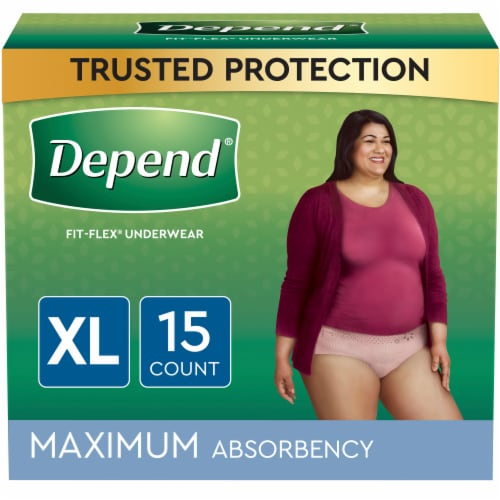 Depend X-Large Maximum Absorbency Fit-Flex Incontinence Underwear for Women Perspective: front