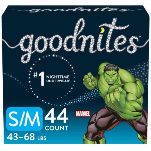 GoodNites S-M Marvel Bedtime Underwear for Boys 44 Count Perspective: front