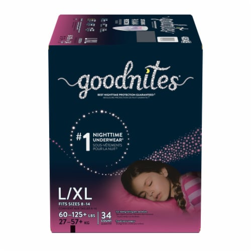 GoodNites L-XL Bedtime Underwear for Girls 34 Count Perspective: front