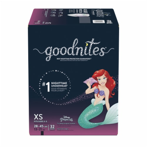 GoodNites Disney Princess Extra Small Nighttime Underwear 32 Count Perspective: front