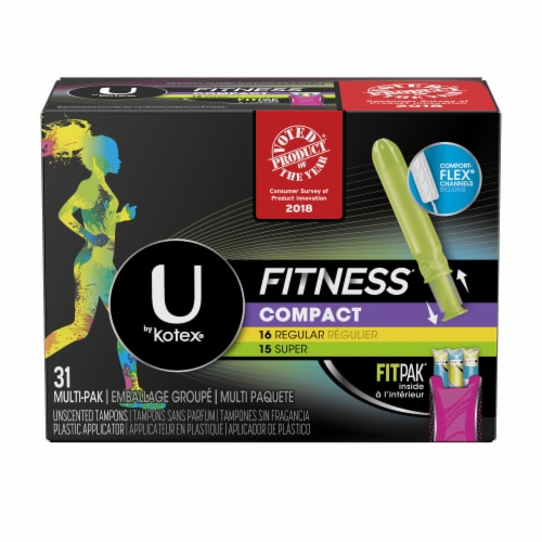 U by Kotex Fitness Regular & Super Compact Tampons Multi Pack 31 Count Perspective: front