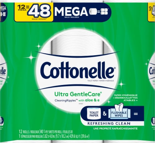 Cottonelle Ultra Gentle Care Mega Roll Bath Tissue Perspective: front