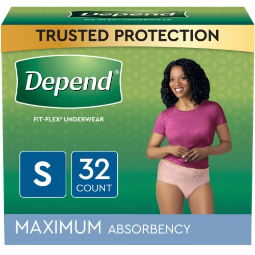 Depend FIT-FLEX Maximum Absorbency Small Incontinence Underwear for Women Perspective: front