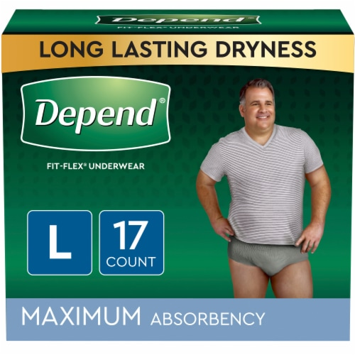 Depend FIT-FLEX Maximum Absorbency Large Incontinence Underwear for Men Perspective: front