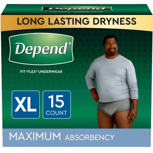 Depend FIT-FLEX Maximum Absorbency Size Extra-Large Incontinence Underwear for Men Perspective: front