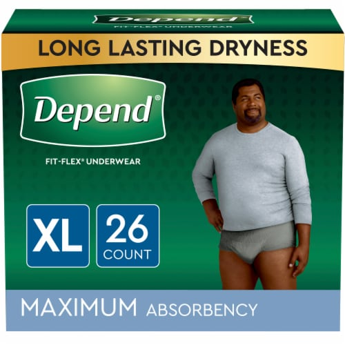 Depend Fit-Flex Size Extra Large Maximum Absorbency Incontinence Underwear for Men Perspective: front