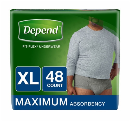 Depend Fit-Flex Maximum Absorbency X-Large Incontinence Underwear Perspective: front