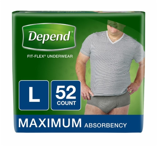 Depend Fit-Flex Mens Maximum Absorbency Incontinence Underwear Perspective: front