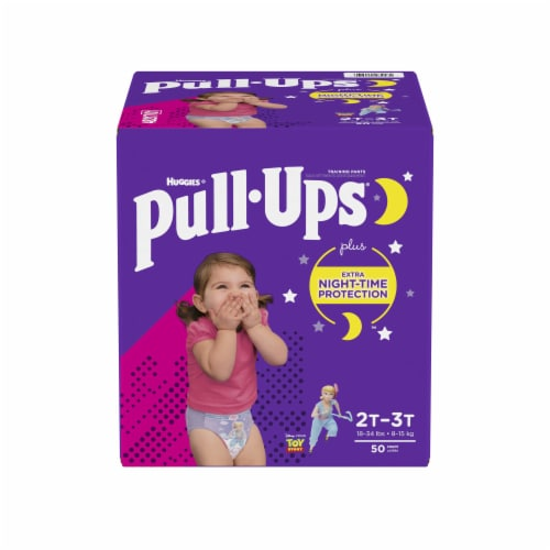 Pull-Ups Girls Night Time 2T-3T Training Pants 50 Count Perspective: front
