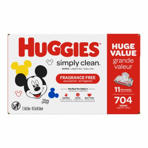 Huggies Simply Clean Unscented Baby Wipes Perspective: front