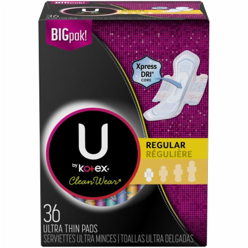 U by Kotex CleanWear Regular Ultra Thin Pads with Wings Perspective: front
