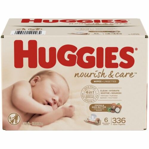 Huggies Nourish & Care Cocoa & Shea Butter 4-in-1 Sensitive Skin Baby Wipes Perspective: front