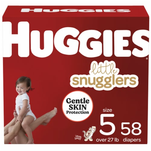 Huggies Little Snugglers Size 5 Baby Diapers 58 Count Perspective: front