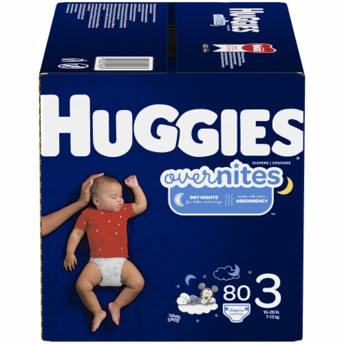 Huggies Overnites Size 3 Baby Diapers 80 Count Perspective: front