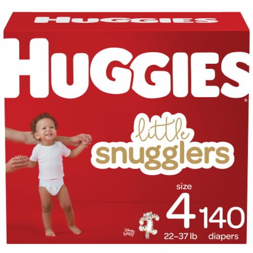 Huggies Little Snugglers Size 4 Baby Diapers 140 Count Perspective: front