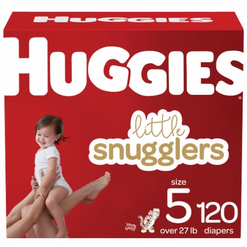 Huggies Little Snugglers Size 5 Baby Diapers 120 Count Perspective: front