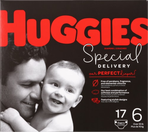Huggies Special Delivery Size 6 Baby Diapers 17 Count Perspective: front