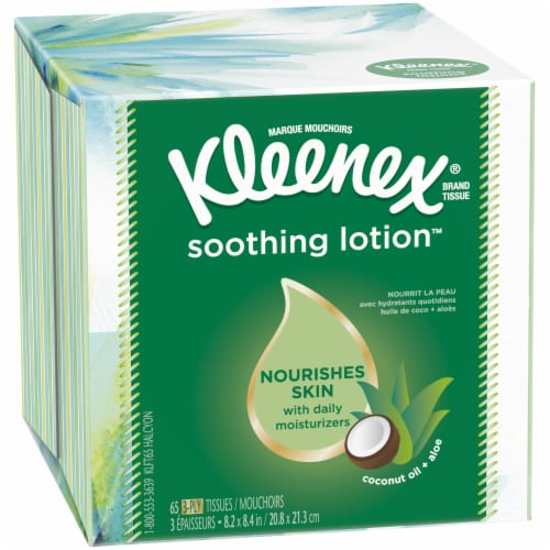 Kleenex Soothing Lotion with Aloe & Vitamin E Facial Tissues Perspective: front