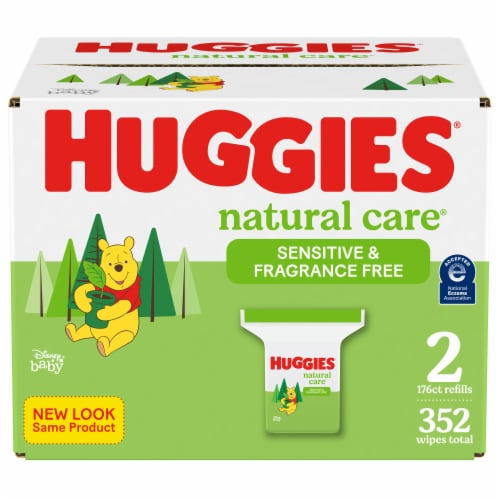 Huggies Natural Care Sensitive Fragrance Free Baby Wipes Refill Packs Perspective: front
