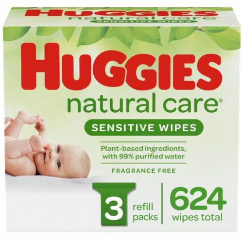 Huggies Natural Care Sensitive Baby Wipes Unscented Refill Packs Perspective: front