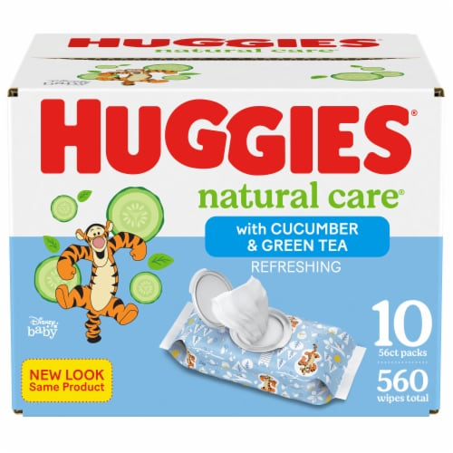 Huggies Refreshing Clean Cucumber & Green Tea Scent Baby Wipes Perspective: front