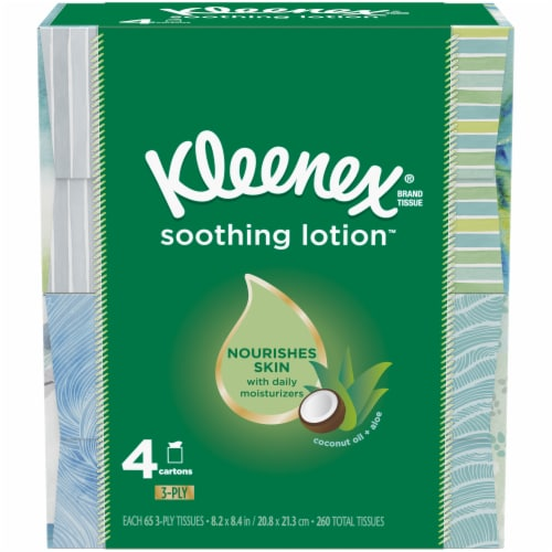 Kleenex Soothing Lotion Facial Tissues Cube Boxes Perspective: front