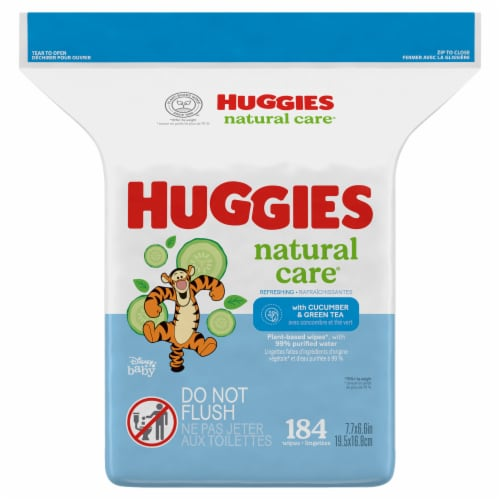 Huggies Natural Care Refreshing Cucumber & Green Tea Scent Baby Wipes Refill Pack Perspective: front
