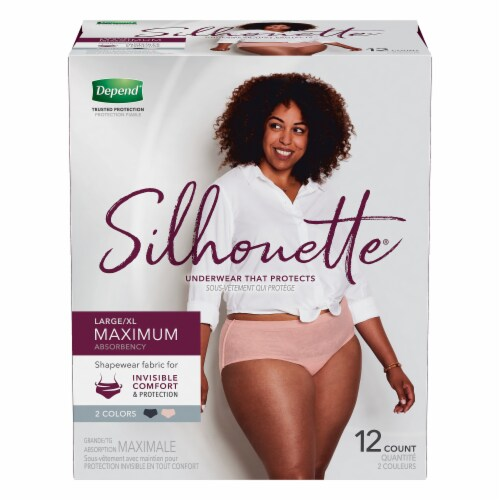 Depend Silhouette Maximum Absorbency L/XL Incontinence Underwear for Women Perspective: front