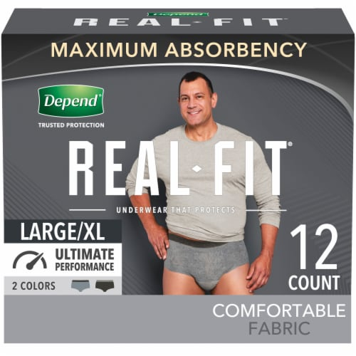 Depend Real Fit Large/Extra Large Maximum Absorbency Incontinence Briefs Perspective: front