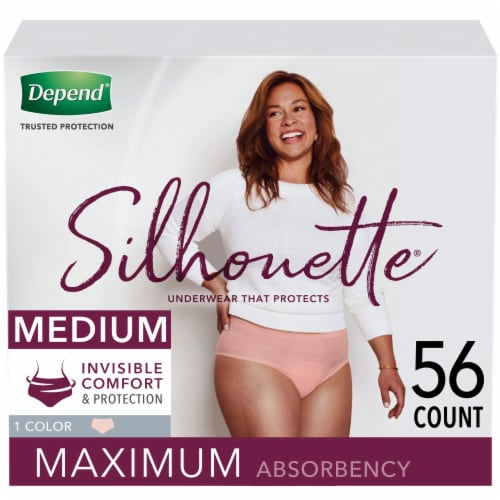 Depend Silhouette Pink Maxium Absorbency Medium Women's Incontinence Underwear Perspective: front