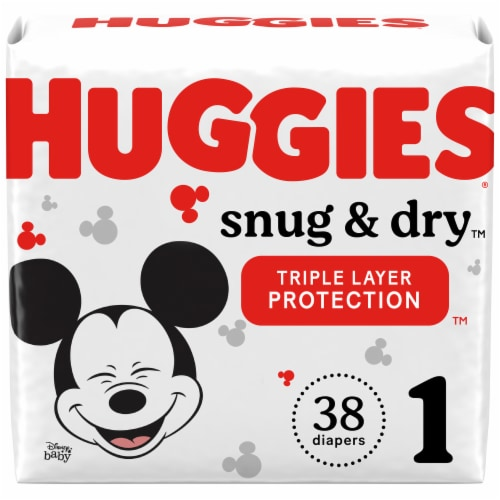 Huggies Snug and Dry Jumbo Pack Size 1 Baby Diapers Perspective: front