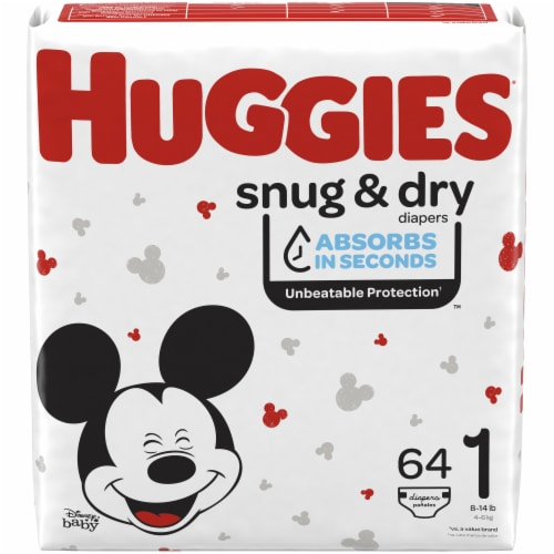 Huggies Snug and Dry Size 1 Baby Diapers 256 Count Perspective: front