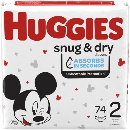Huggies Snug and Dry Size 2 Baby Diapers 222 Count Perspective: front