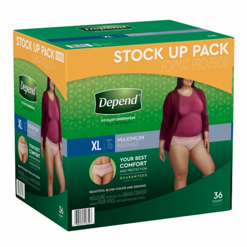 Depend Fit-Flex Maximum Absorbency X-Large Women's Incontinence Underwear Perspective: front