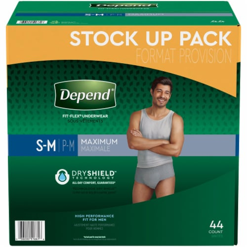 Depend Fit-Flex Maximum Absorbency Small/Medium Men's Incontinence Underwear Perspective: front